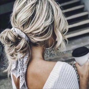 🥰Chiffon Hair Scarf 💋Bandanna Navy Pink Gray